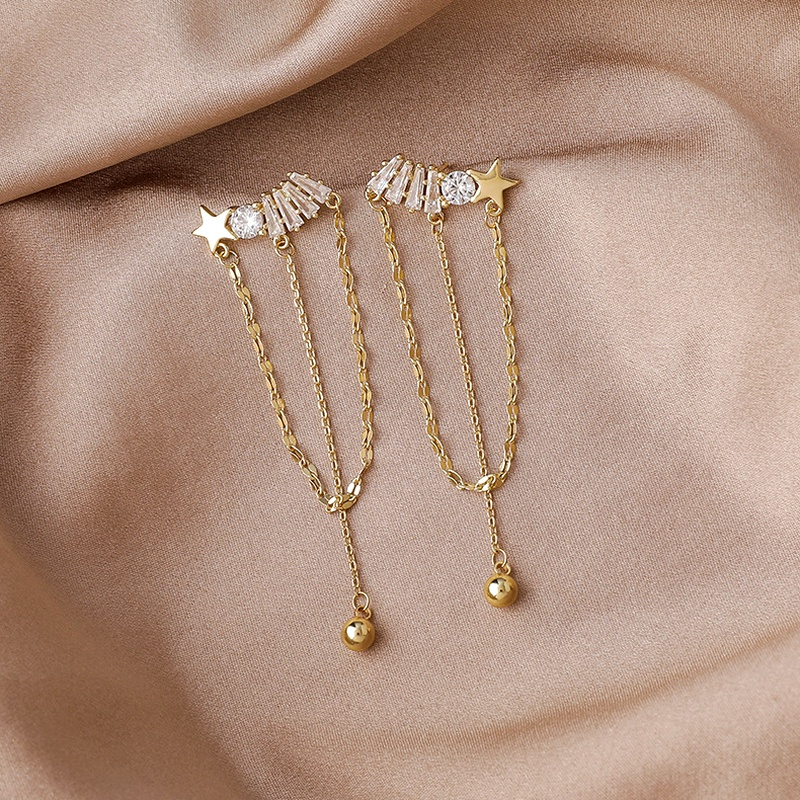 long zircon tassel star earrings NHMS284987