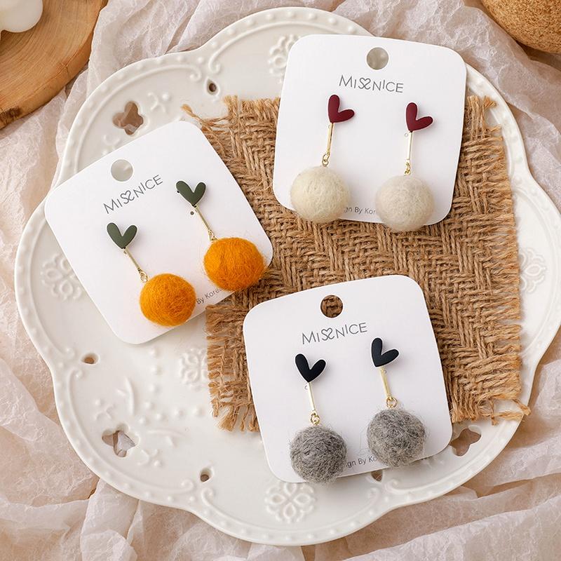 S925 silver needle spray paint heart hair ball earrings  NHMS284990