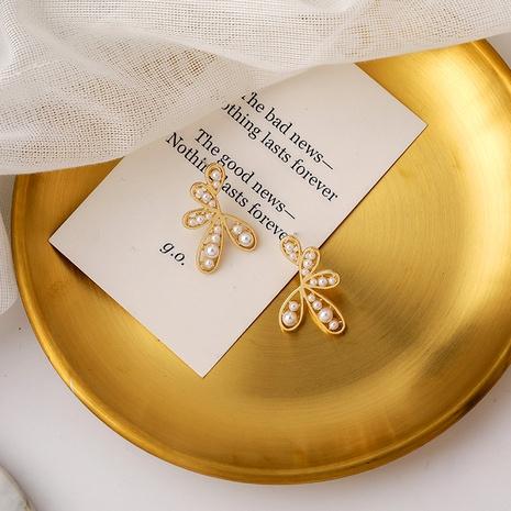 pendientes de perlas de pétalos NHMS284991's discount tags