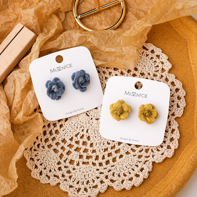 fashion plush flower earrings 925 silver needle  NHMS284994