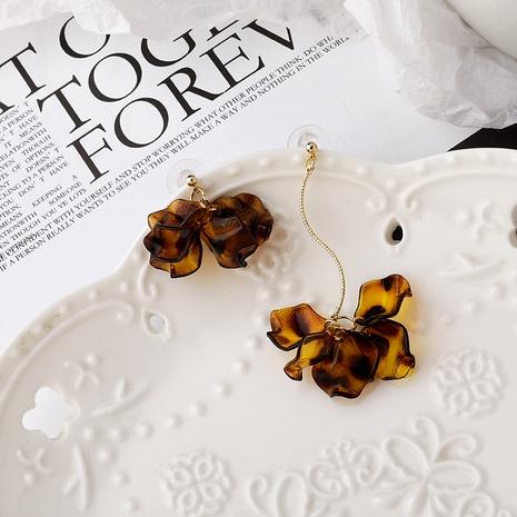 Leopard Print Amber Resin Asymmetrical Earrings  NHMS284996's discount tags