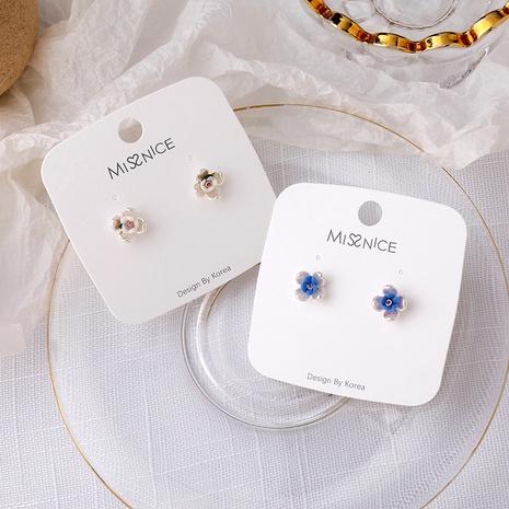Mini pendientes flor nacarada de colores S925 NHMS284998's discount tags