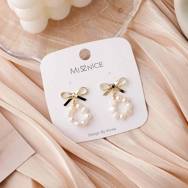 S925 silver needle pearl bow earrings  NHMS284999
