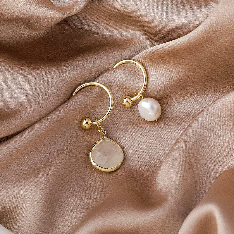 asymmetric pearl gemstone earrings NHMS285001