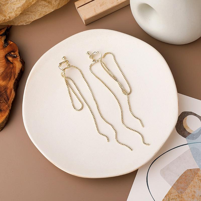 metal chain tassel ear clip  NHMS285002
