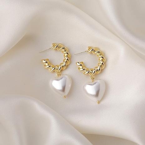 aretes retro de perlas de metal NHMS285003's discount tags