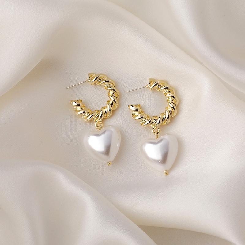 metal pearl retro earrings  NHMS285003