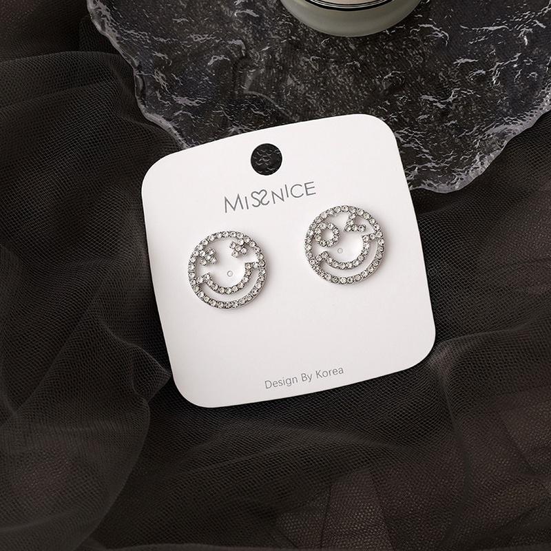 smile rhinestone simple earrings NHMS285010
