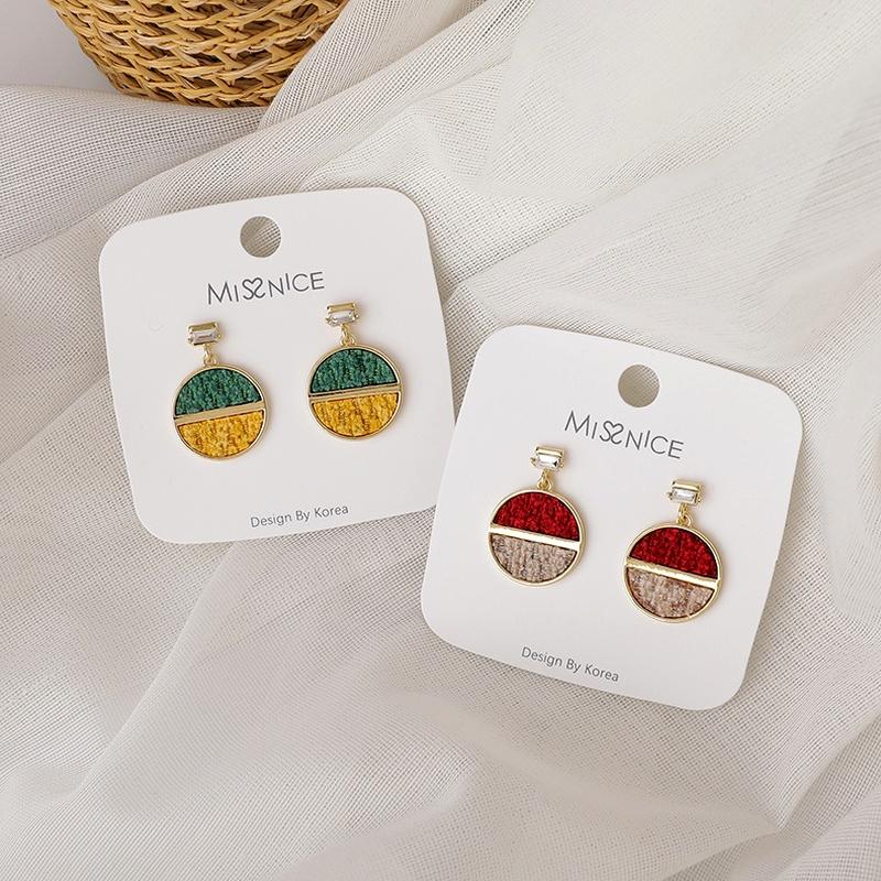 925 silver needle color matching woolen earrings  NHMS285011