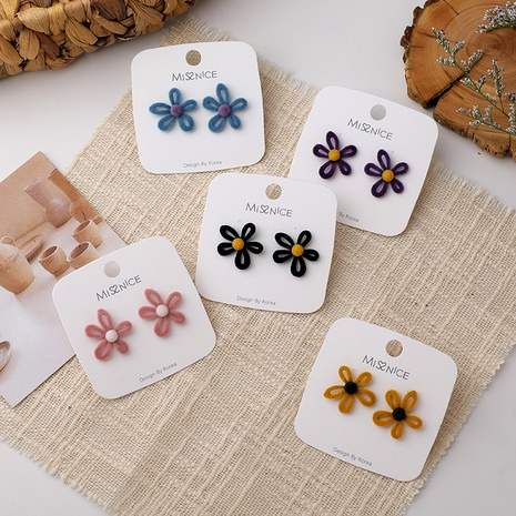 pendientes de flores de felpa dulce NHMS285020's discount tags