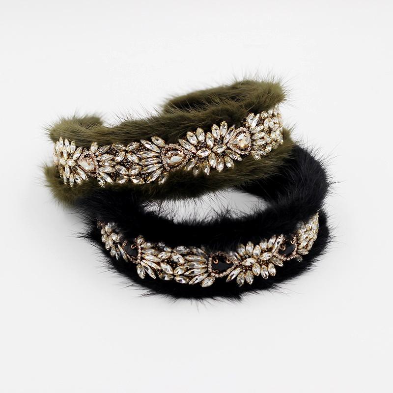 New  Baroque luxury fluffy diamond headband  NHWJ285022