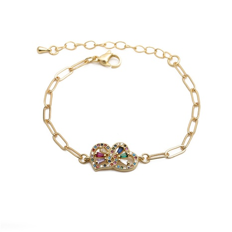 zirconium double heart adjustable bracelet NHYL285043's discount tags