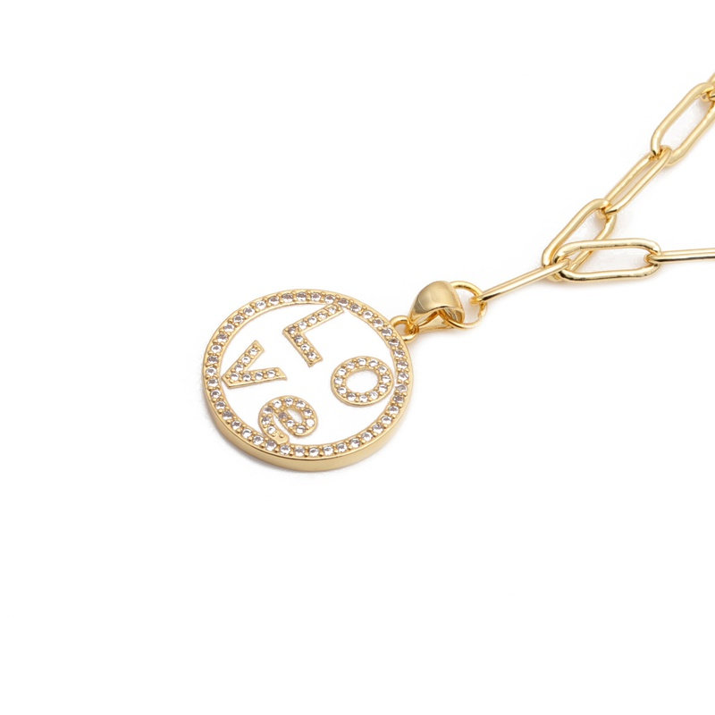 hip hop micro-inlaid zircon LOVE necklace  NHYL285051