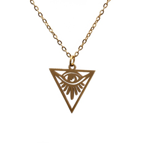 titanium steel triangle devil eye pendant necklace  NHYL285056's discount tags