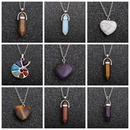 fashion stainless steel turquoise hexagonal column pendant necklace NHYL285066