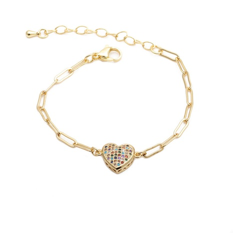 Zircon Heart Adjustable Hip Hop Bracelet  NHYL285074's discount tags