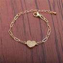 Zircon Heart Adjustable Hip Hop Bracelet  NHYL285074