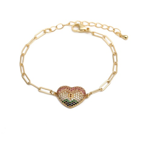 zircon peach heart adjustable bracelet  NHYL285078's discount tags