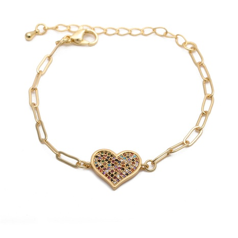 micro-inlaid zircon peach heart adjustable bracelet NHYL285081's discount tags