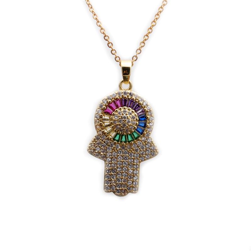 Fashion Zircon Demon's Eye Palm Pendant Necklace NHYL285089