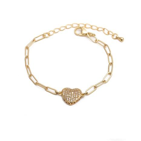 white zirconium peach heart adjustable bracelet NHYL285096's discount tags