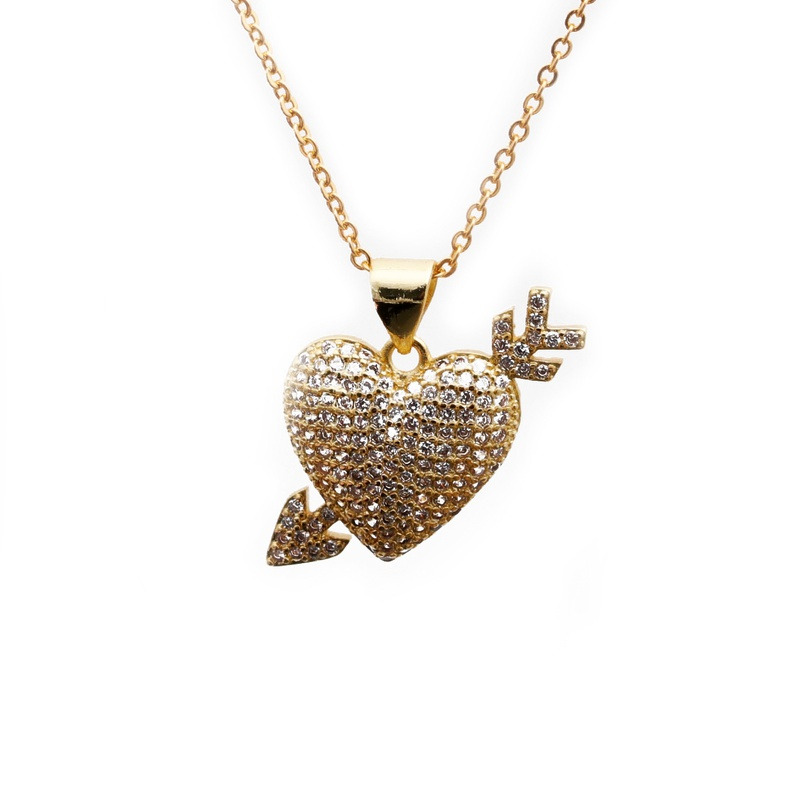 White Zirconium Heart One Arrow Necklace  NHYL285101