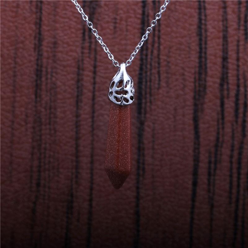 fashion stainless steel hexagonal pillar pendant necklace NHYL285120