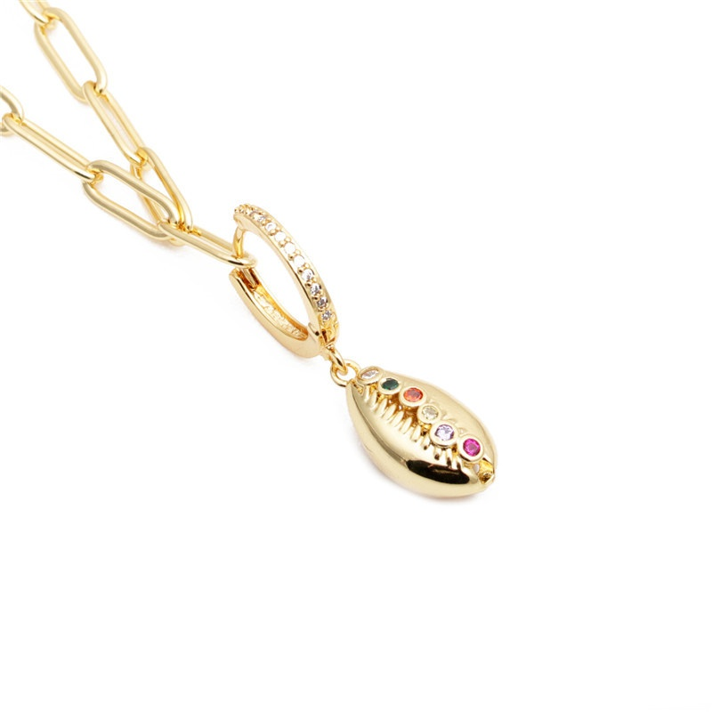zircon shell pendant necklace NHYL285133