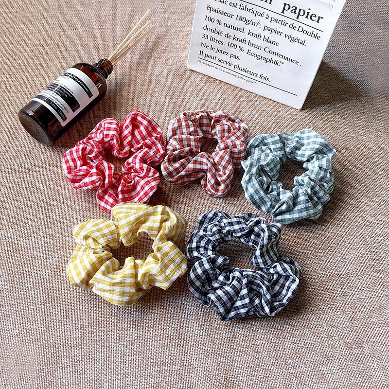 floral plaid  retro all-match fabric hair scrunchies  NHOF285155