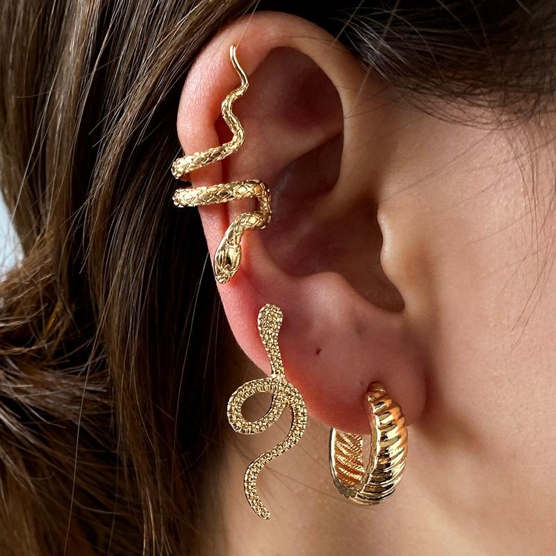 retro snake  fashion threepiece earrings NHDP285166