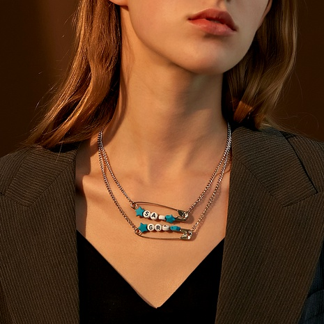 double-layer letter pin necklace  NHDP285170's discount tags