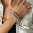 5piece beaded  punk style pearl multilayer OT buckle rope chain bracelet  NHDP285171