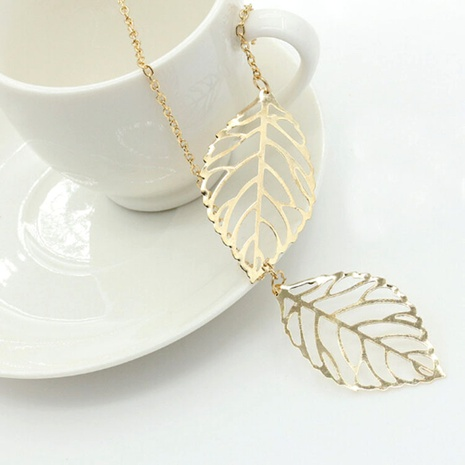 retro metal hollow leaf necklace  NHDP285174's discount tags