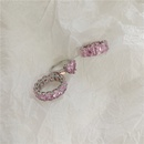pink zircon oval heart ring set NHYQ285196