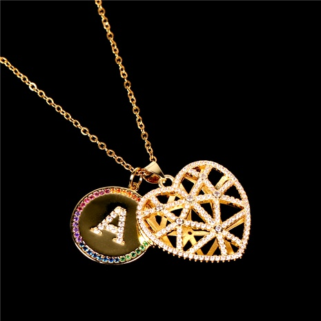 26 letter inlaid crystal diamond hollow heart pendant necklace  NHPY285206's discount tags