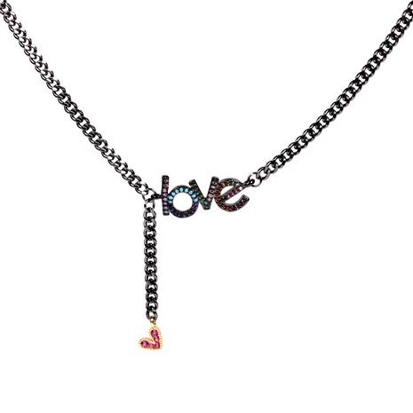 tassel zircon heart letter necklace NHPY285209's discount tags
