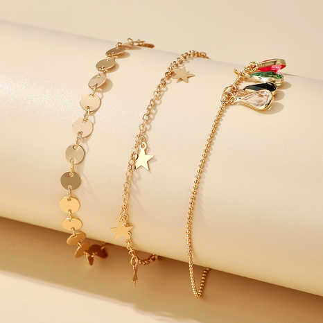 Bohemian Star Colored Stone Disc Tassel Alloy Bracelet Sets  NHGY285580's discount tags