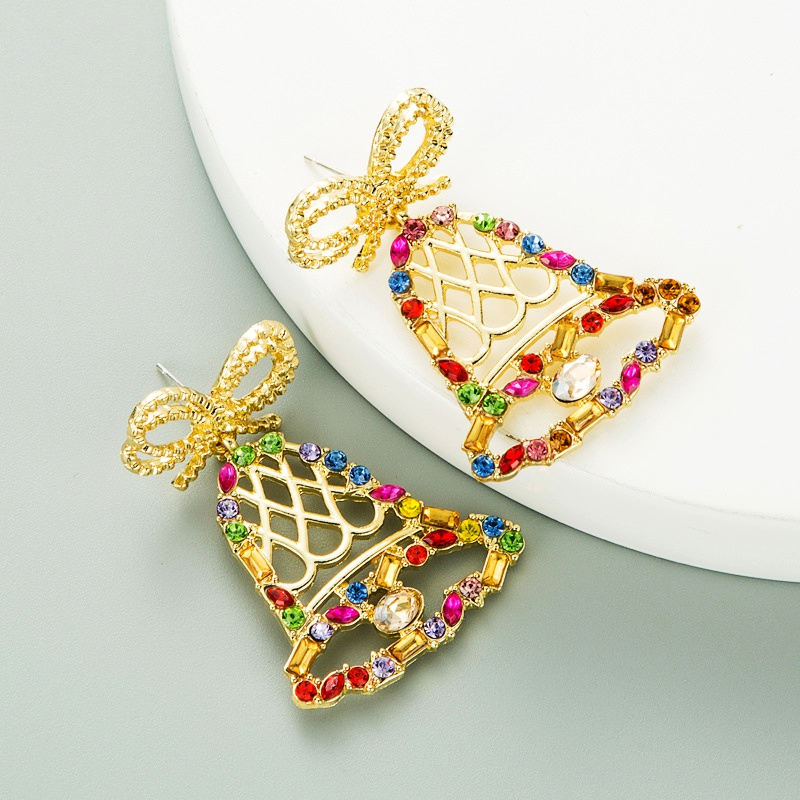 fashion trend color diamond series bow bell earrings  NHLN285230