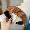 NHUX1278994-Brown-leather-woven-flat-headband