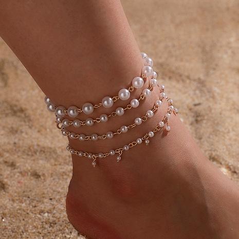 Korean imitation pearl millet bead tassel anklet set NHGY285587's discount tags