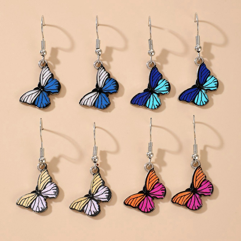 Fashion Butterfly Epoxy Earrings NHGY285653