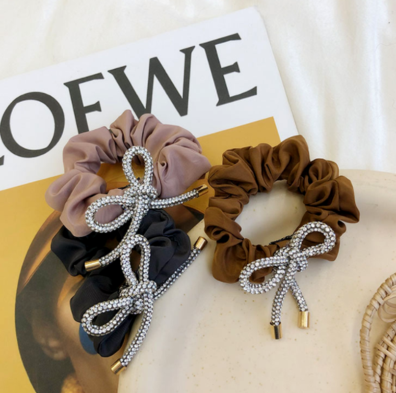 Korean  bow  rhinestone folds satin hair scrunchies  NHSM284983