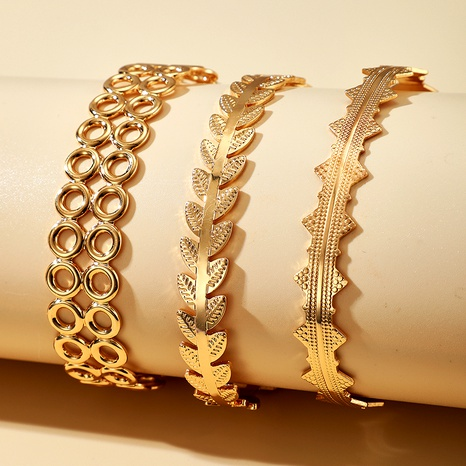 exaggerated leaf alloy three-layer bracelet  NHGY284772's discount tags