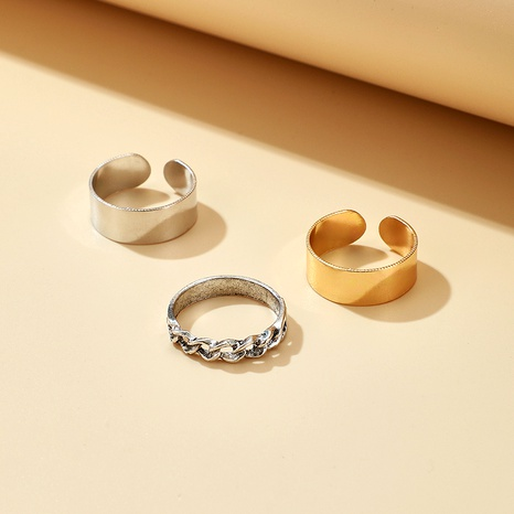 gold and silver twist alloy ring 3 piece set  NHGY284764's discount tags