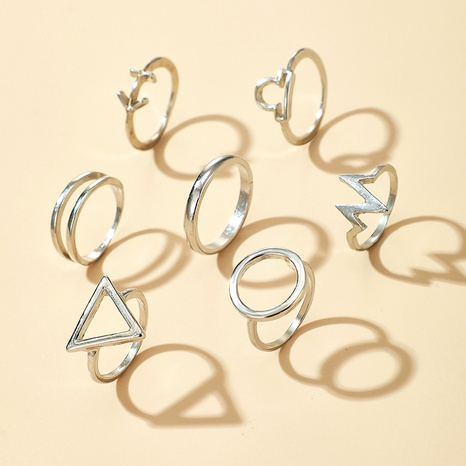 Retro Metal Silver Ring 7-piece Set  NHGY284766's discount tags