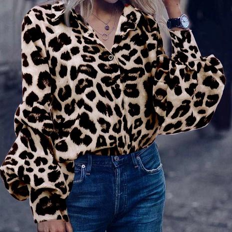 camisa holgada de manga larga con estampado de leopardo NHJG285650's discount tags