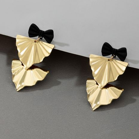 folds metal exaggerated sequins geometric bow earrings NHGY277086's discount tags