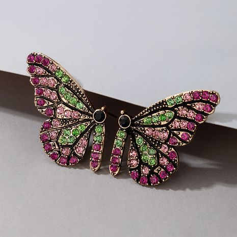butterfly full diamond alloy earrings wholesale NHGY277087's discount tags