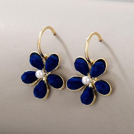 Korean blue plush flower pearl earrings  NHGY277089's discount tags