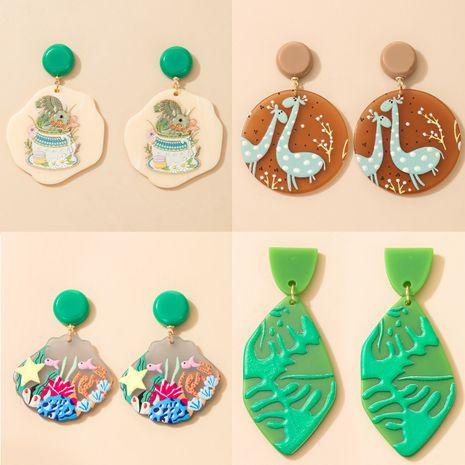 boucles d'oreilles rétro feuille de dessin animé en résine acrylique NHGY277115's discount tags
